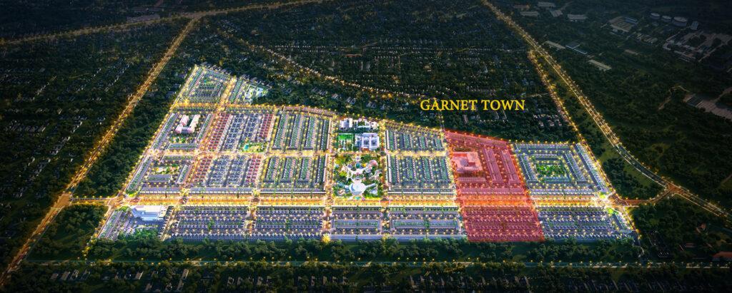 PHAN KHU GANET TOWN 1024x411 - Sơ đồ chi tiết mặt bằng phân lô các phân khu dự án Gem Sky World