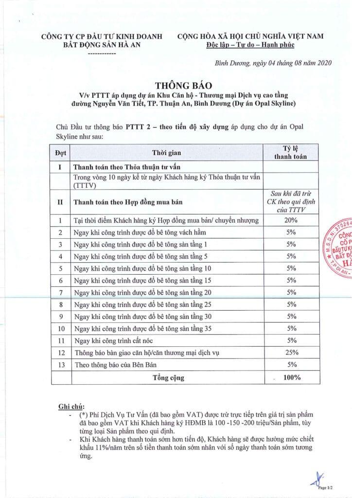 PTTT 2 Theo tien do xay dung 724x1024 - Phương thức thanh toán căn hộ Opal Cityview Đất Xanh Thủ Dầu Một