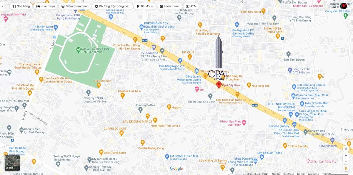 bản đồ vị trí dự án opal cityview