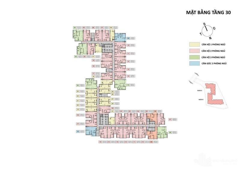 Mặt bằng tầng 5 – 19, 21 – 29 block B dự án Opal Cityview Bình Dương