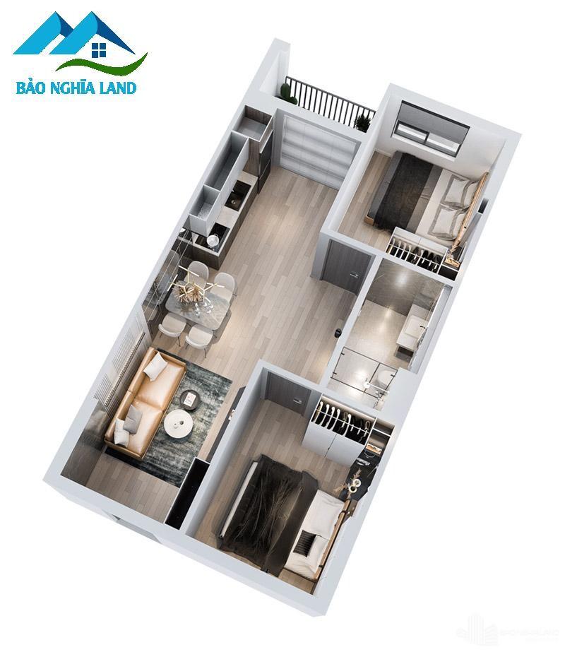 mat bang can ho 2 phong ngu 3d tecco felice home 3 - Dự án căn hộ Tecco Felice Home Bình Dương Đất Xanh phân phối