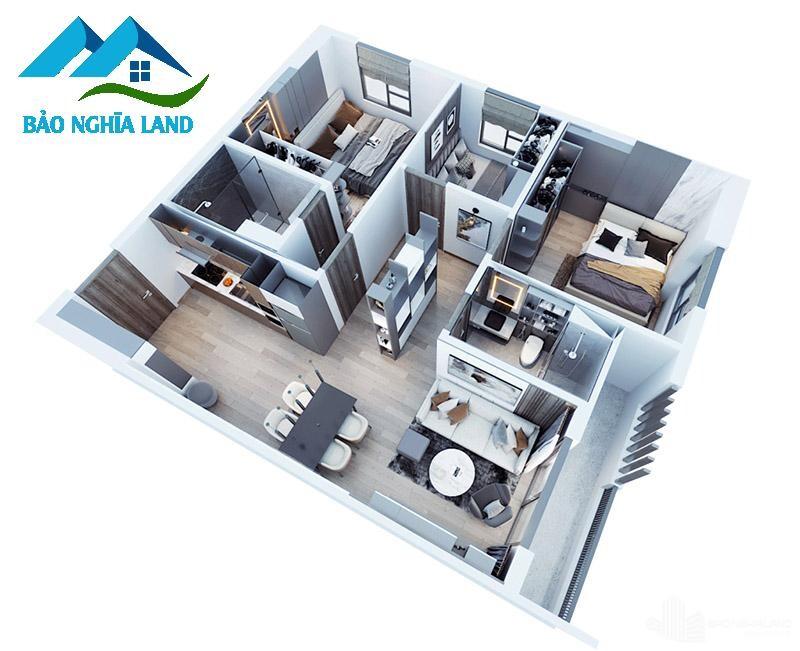 mat bang can ho 3 phong ngu 3d can ho tecco felicce home - Dự án căn hộ Tecco Felice Home Bình Dương Đất Xanh phân phối