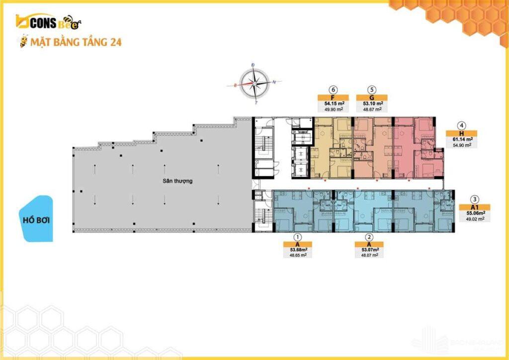 mat bang tang 24 du an bcons bee 1024x724 - Tổng quan dư án căn hộ Bcons Bee - mặt bằng thiết kế và giá bán