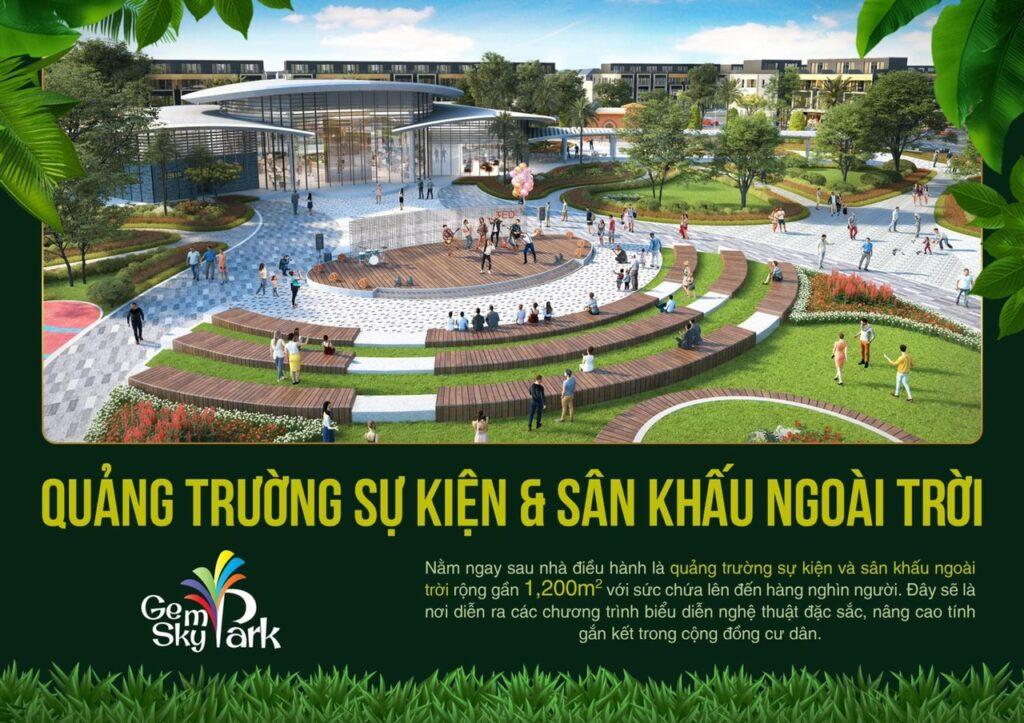 quang truong va san khau ngoai troi 1024x723 - Khám phá trải nghiệm công viên giải trí và vui chơi Gem Sky Park