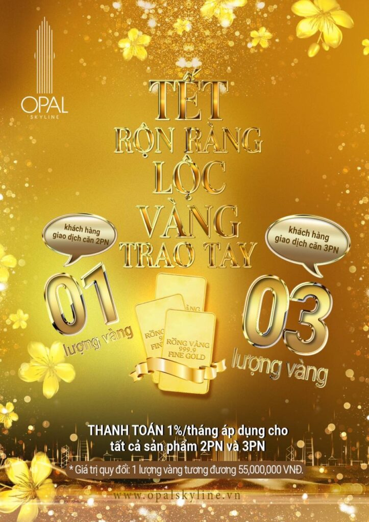 tang 1 luong vang can 2pn va 3 luong vang can 3pn 723x1024 - Chính sách chiết khấu dành cho khách hàng mua căn hộ Opal Skyline