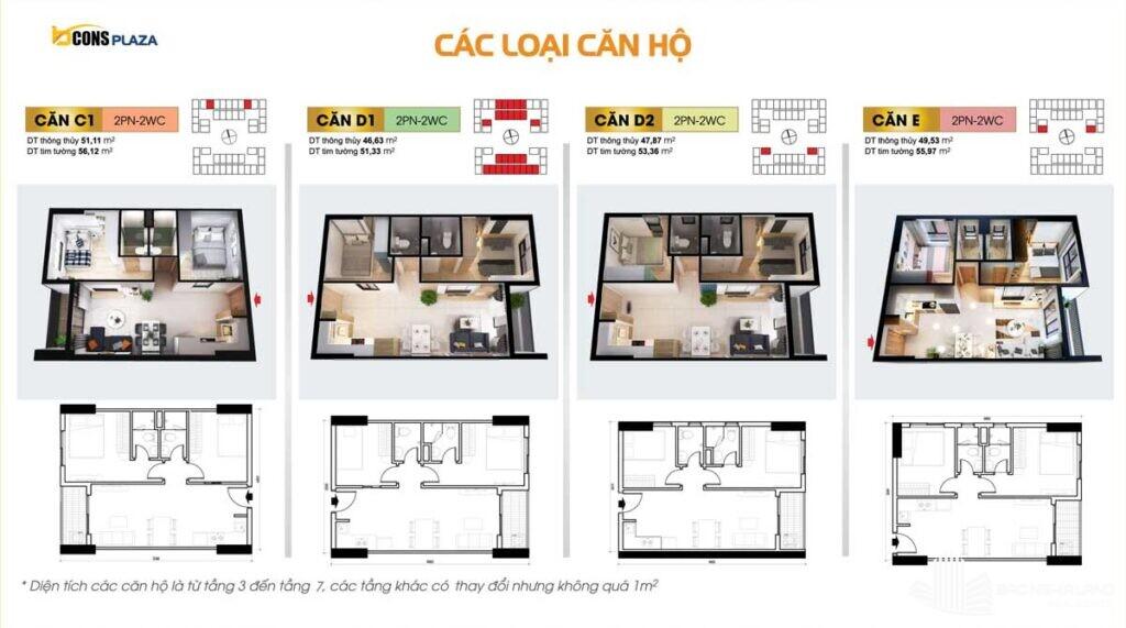 thiet ke cac loai can ho bcons plaza 1024x571 - Dự án căn hộ Bcons Plaza Dĩ An cập nhật thông tin giá bán 2021