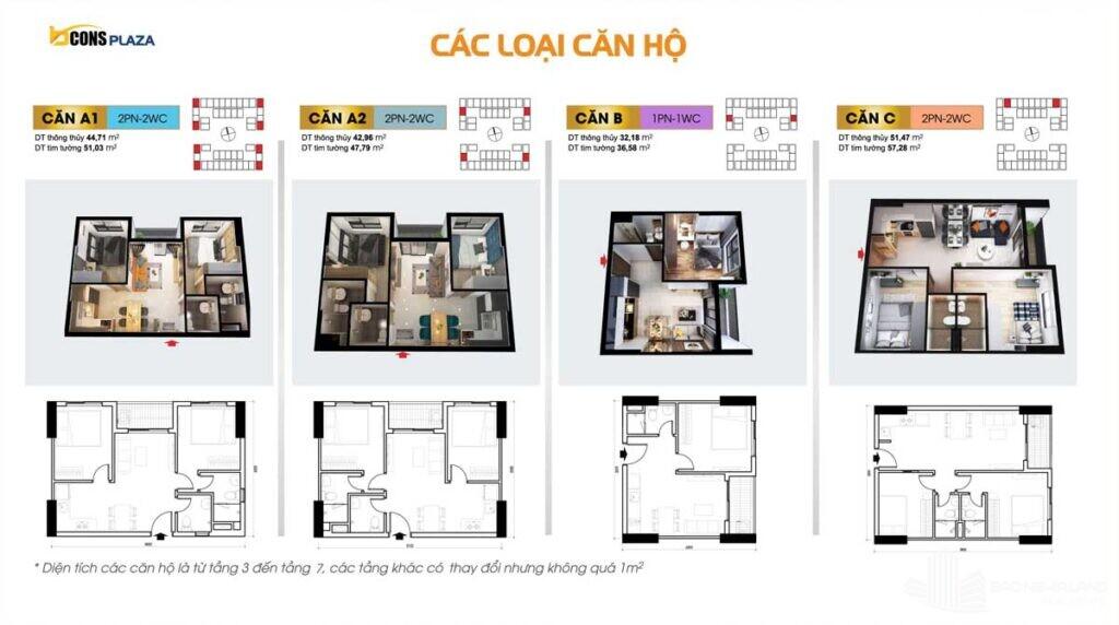 thiet ke cac loai can ho bcons plaza binh duong 1024x572 - Dự án căn hộ Bcons Plaza Dĩ An cập nhật thông tin giá bán 2021