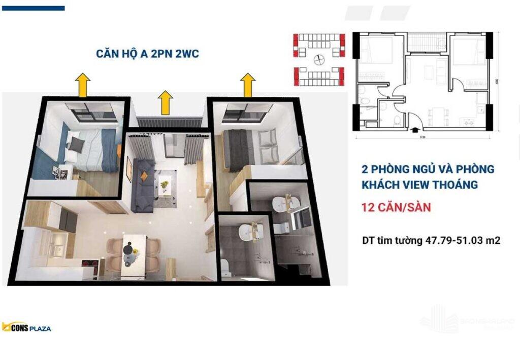 thiet ke can ho bcons plaza 2 phong ngu 2 wc 1024x669 - Dự án căn hộ Bcons Plaza Dĩ An cập nhật thông tin giá bán 2021