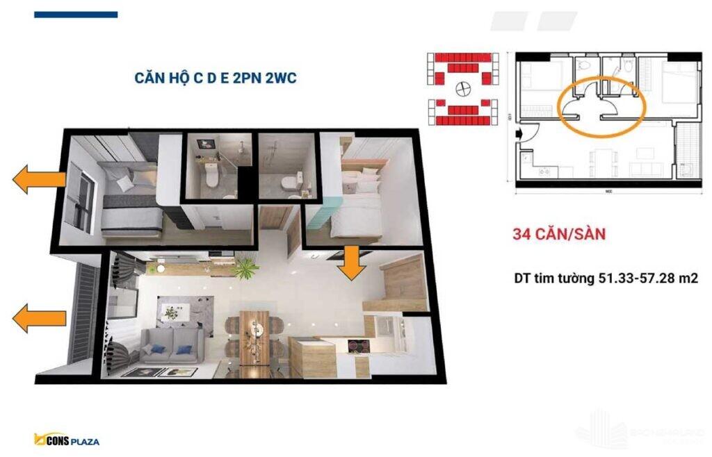 thiet ke can ho bcons plaza 2 phong ngu 2 wc binh duong 1024x658 - Dự án căn hộ Bcons Plaza Dĩ An cập nhật thông tin giá bán 2021